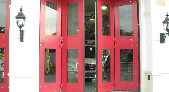 Fire Station Doors Clear Fold Opening Doors To New